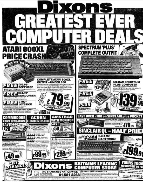 Dixons Sinclair ZX Spectrum, #Atari & QL advert | Vintage