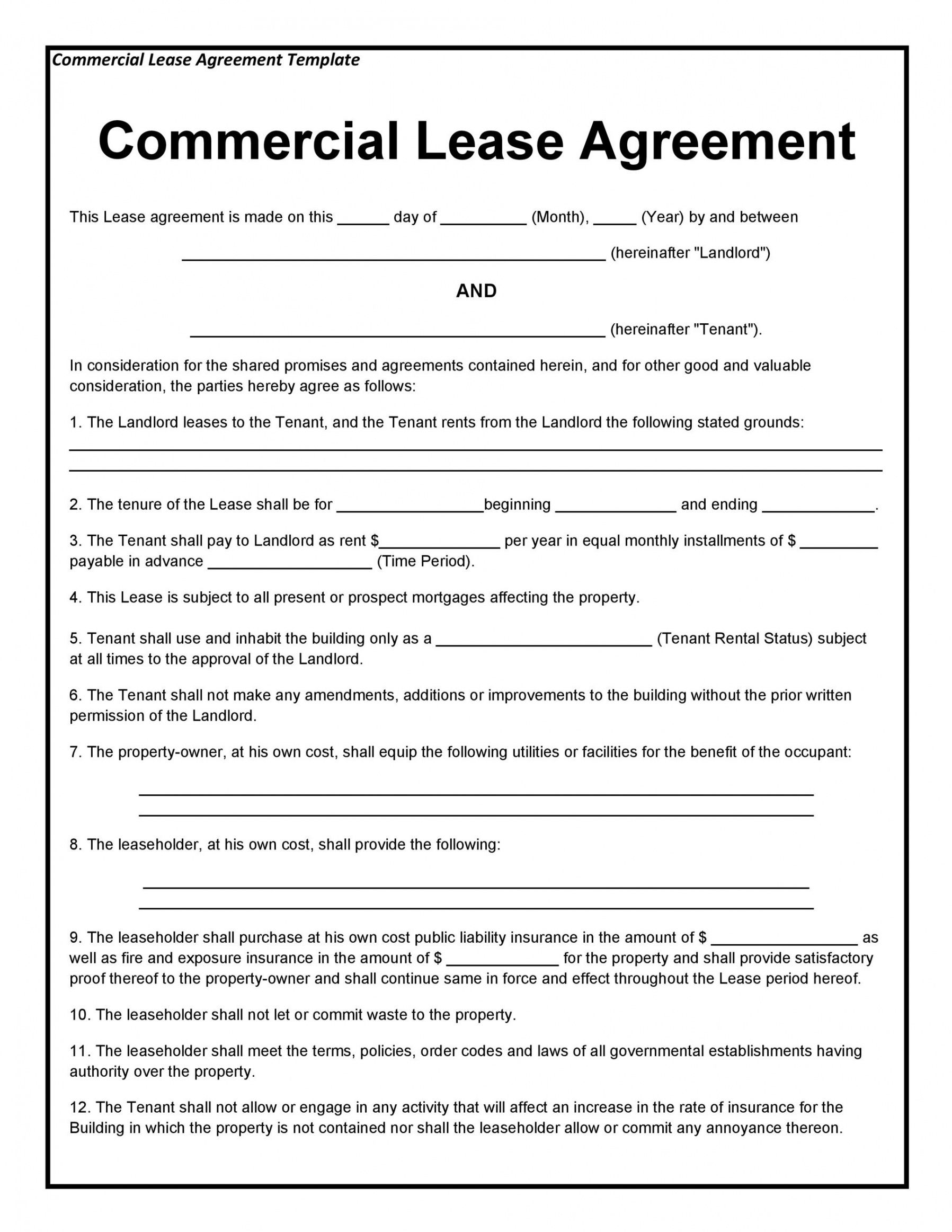 26 Free Commercial Lease Agreement Templates Templatelab Commercial Lease Contract Templ In 2021 Lease Agreement Rental Agreement Templates Commercial Lease Agreement Free commercial lease agreement template