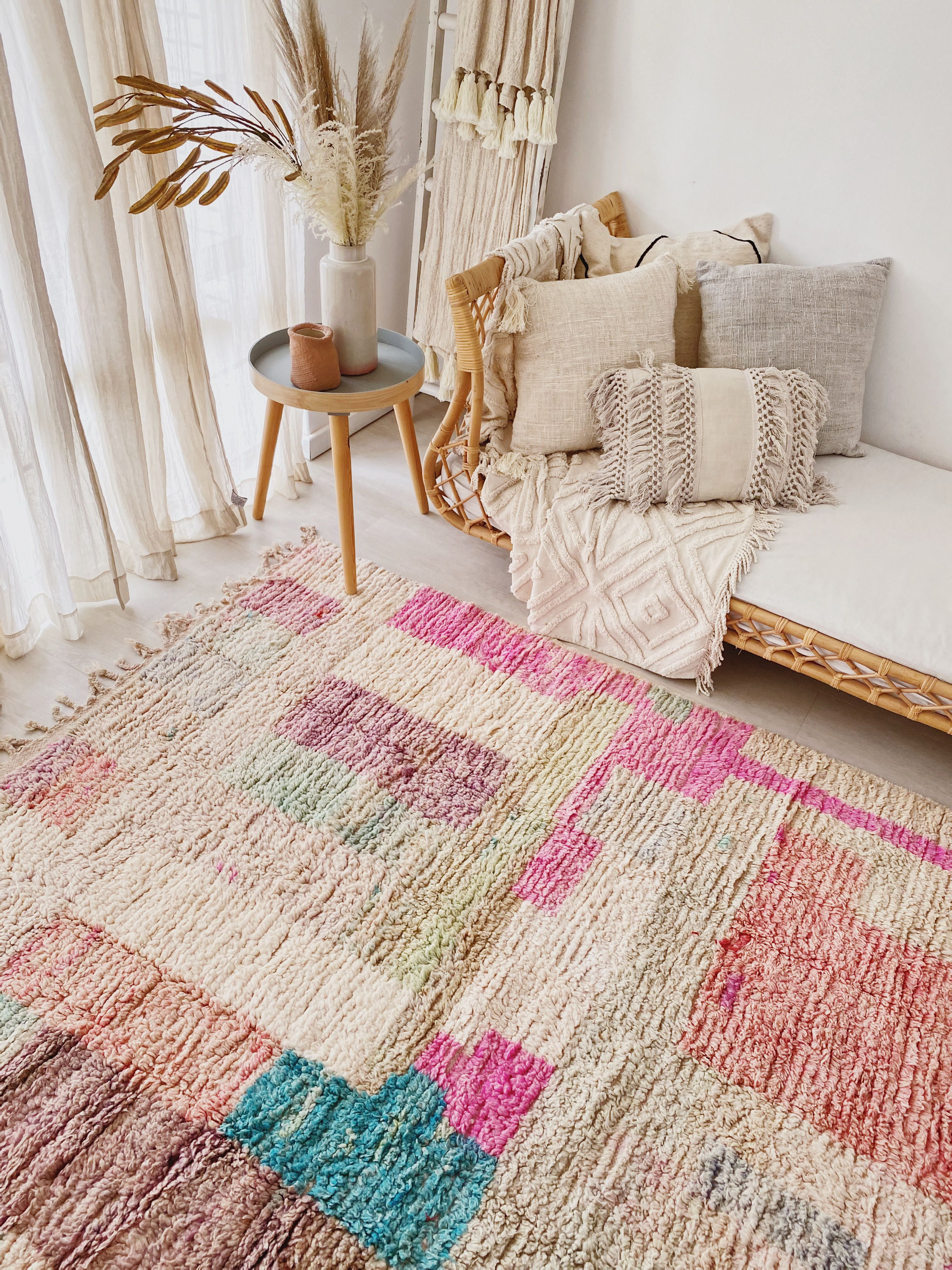 Ava Ivory Blush Moroccan One of A Kind Rug in 2020 Boho