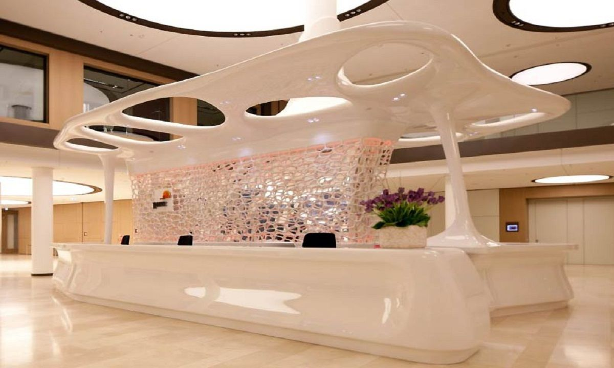 modern office reception design. Contemporary Receptionist Desk For PwC Cafe Modern Office Reception Design
