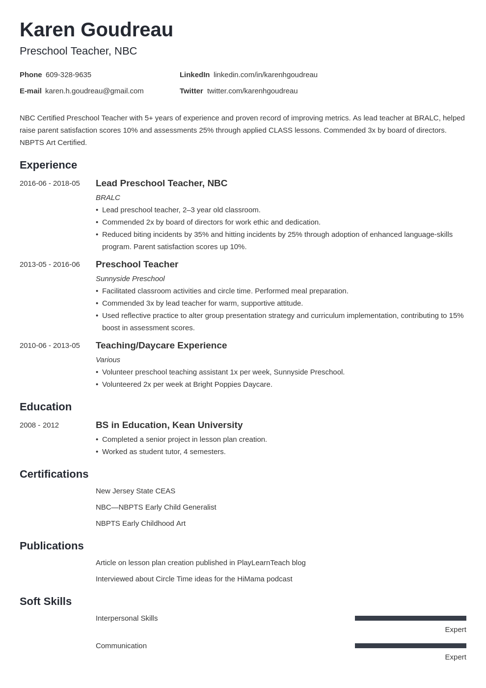 Preschool Teacher Resume Example Template Minimo Teacher Resume Examples Jobs For Teachers Preschool Teacher Resume