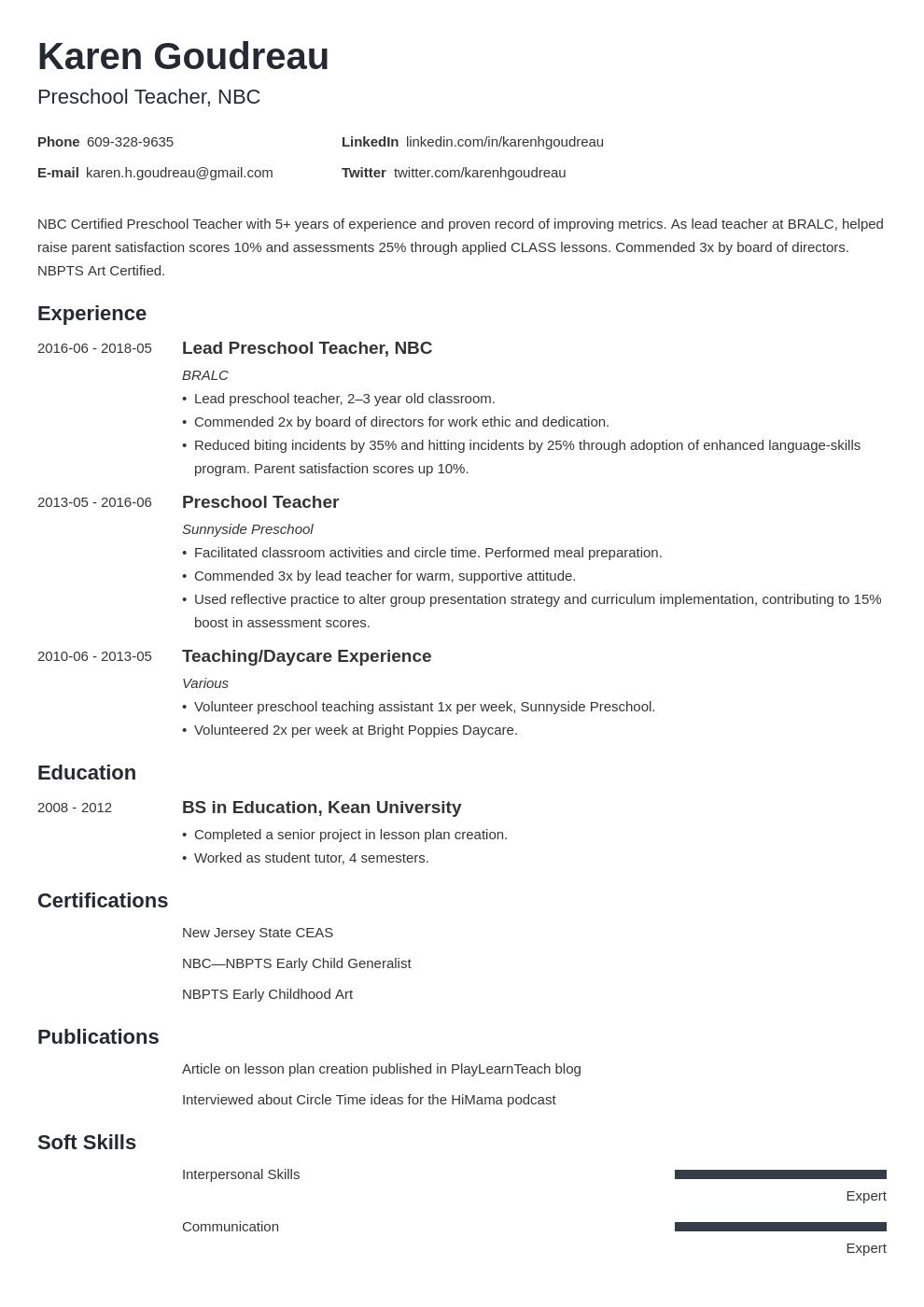 preschool teacher resume example template minimo in 2020