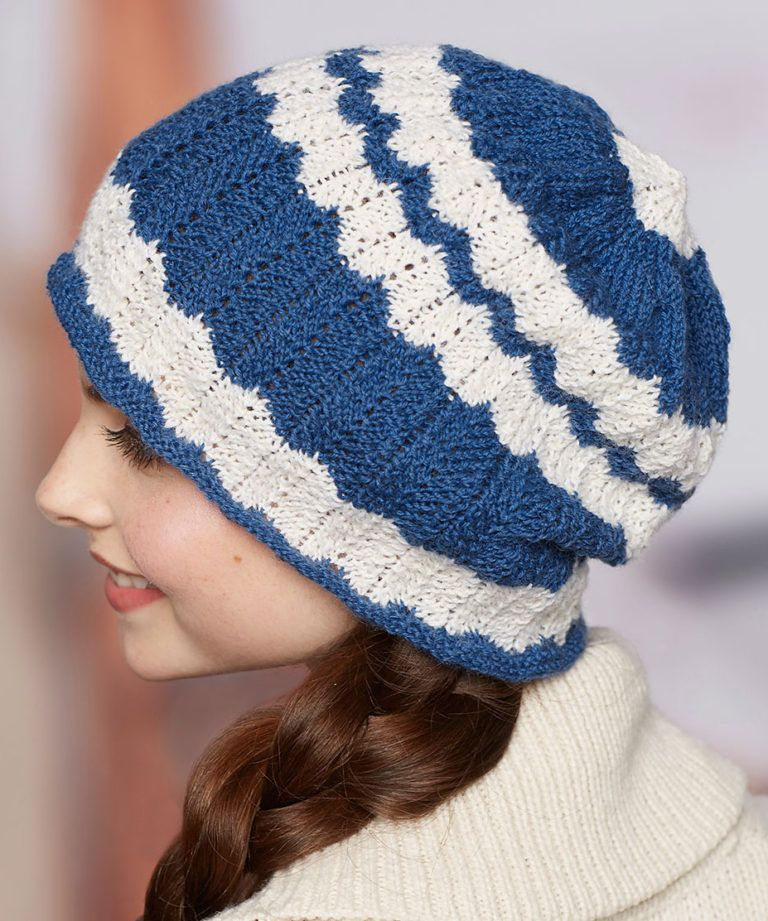 9cddfd03480 Free Knitting Pattern for 2 Row Repeat Wavy Stripe Hat