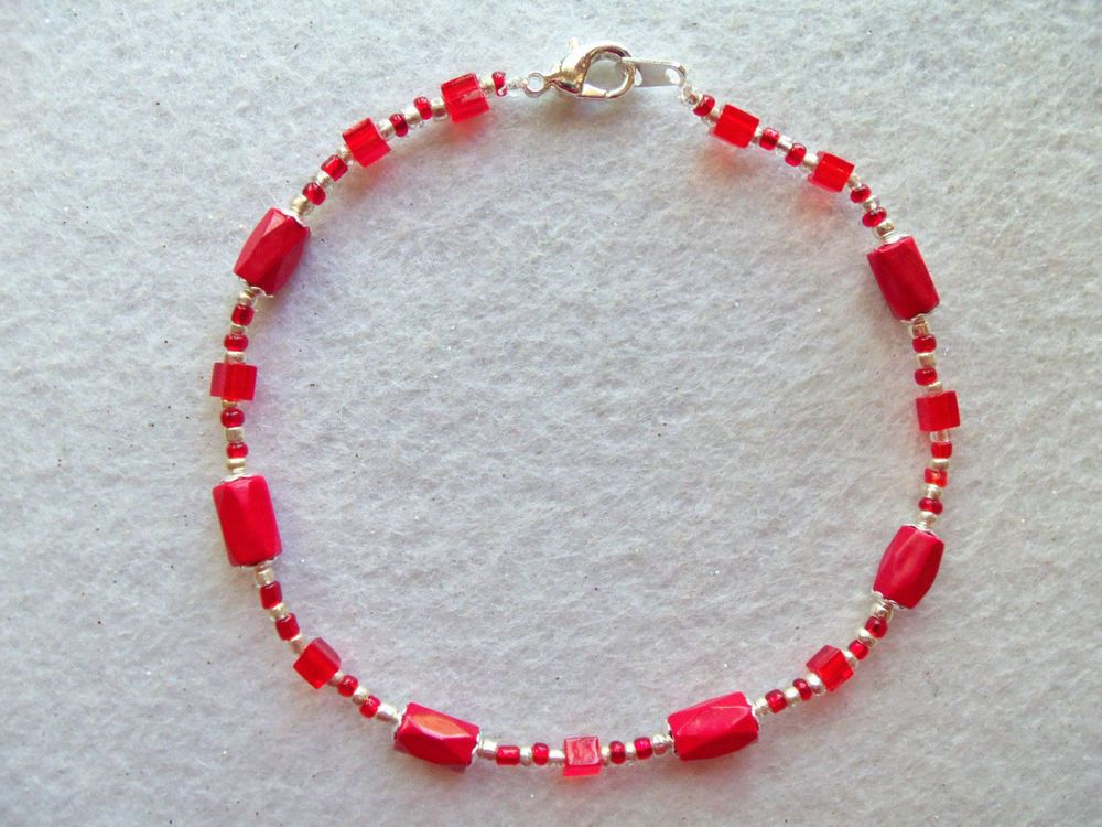 magnetic beads k plated anklet j pin with bracelet silver ankle red