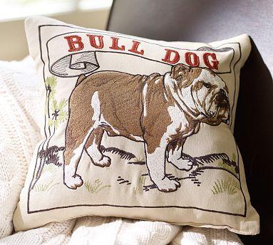 Bull Dog Embroidered Pillow Potterybarn Bulldog Decor Bulldog Art Bulldog