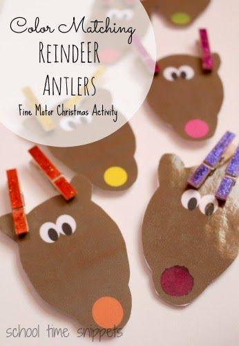 Color Matching Reindeer Clothespin Activity Reindeer clothespin