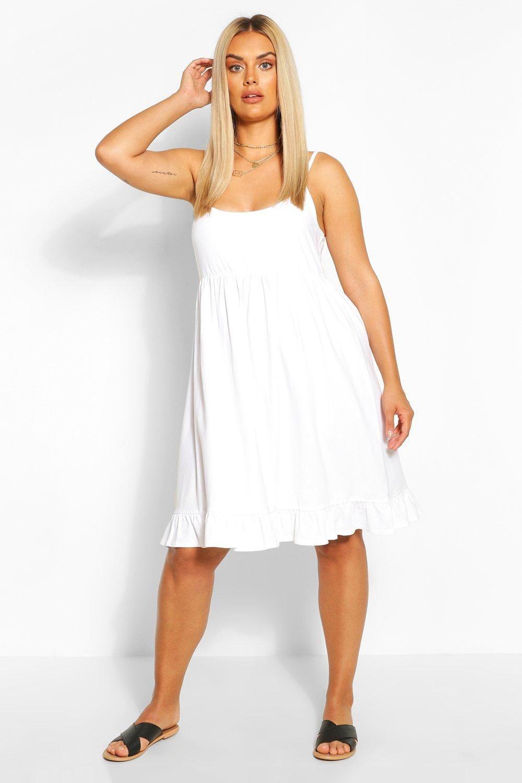 Plus Strappy Ruffle Sundress Boohoo White Dress Summer Bodycon Fashion Plus Size Summer Dresses [ 1500 x 1000 Pixel ]
