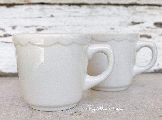 Vintage White Ironstone Coffee Cup Mugs  Set of 2  Measures 3 1/4 tall x 4 1/2…