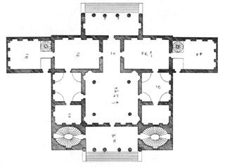 I love the symmetry of palladio 39 s style this is villa for Palladian house plans