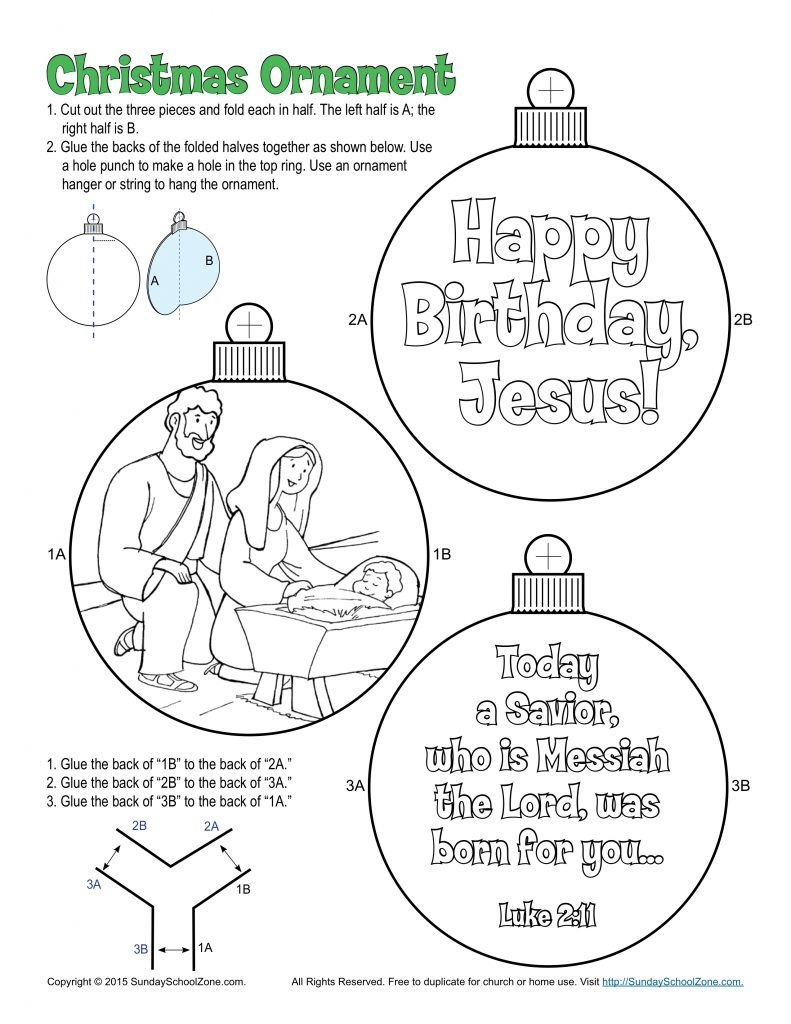 Mary and Joseph Christmas Ornament (Colorable) - Children\'s Bible ...