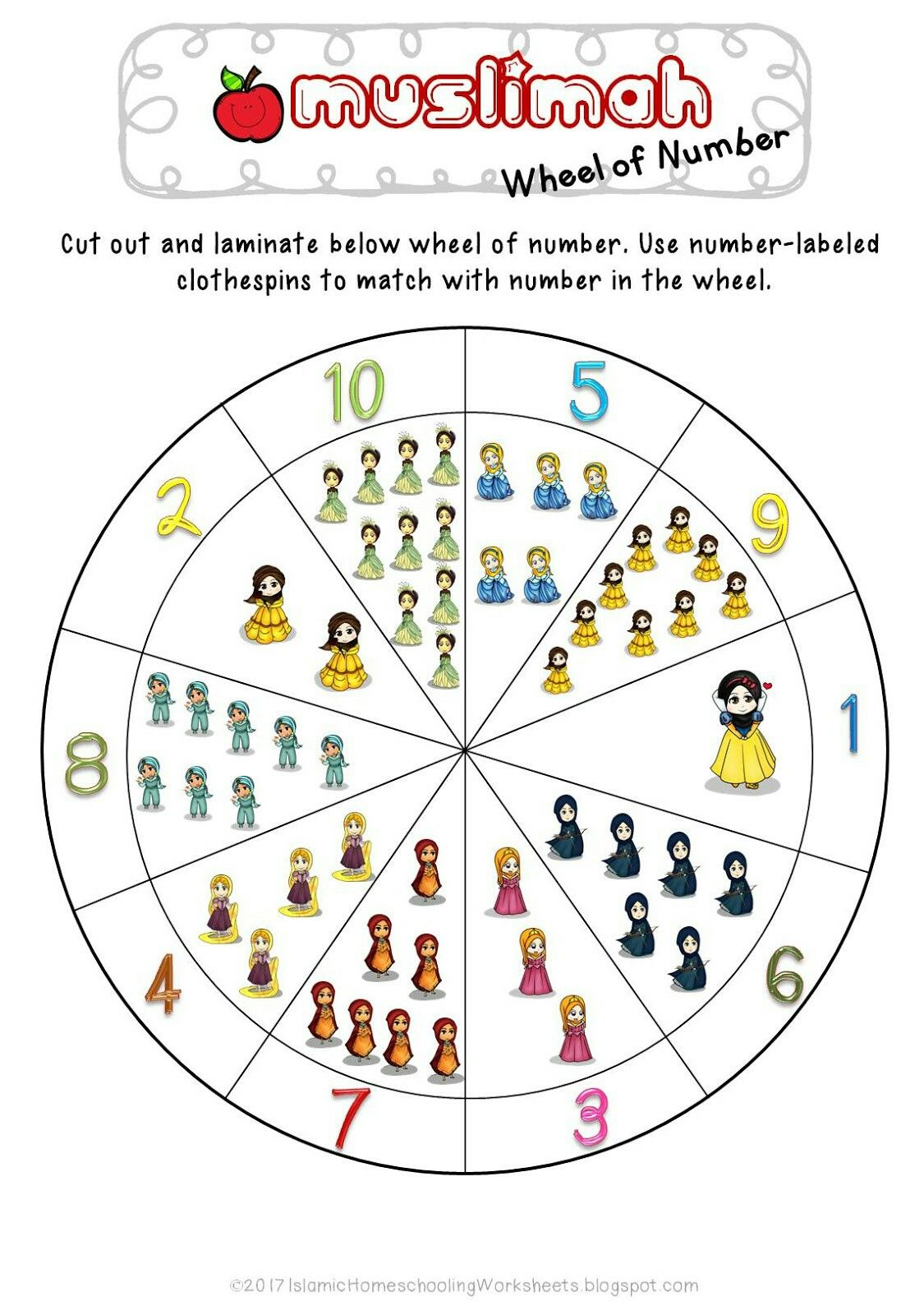 Free Muslimah Wheel Of Number In Disney Princess Preschool Pack Islamic Version