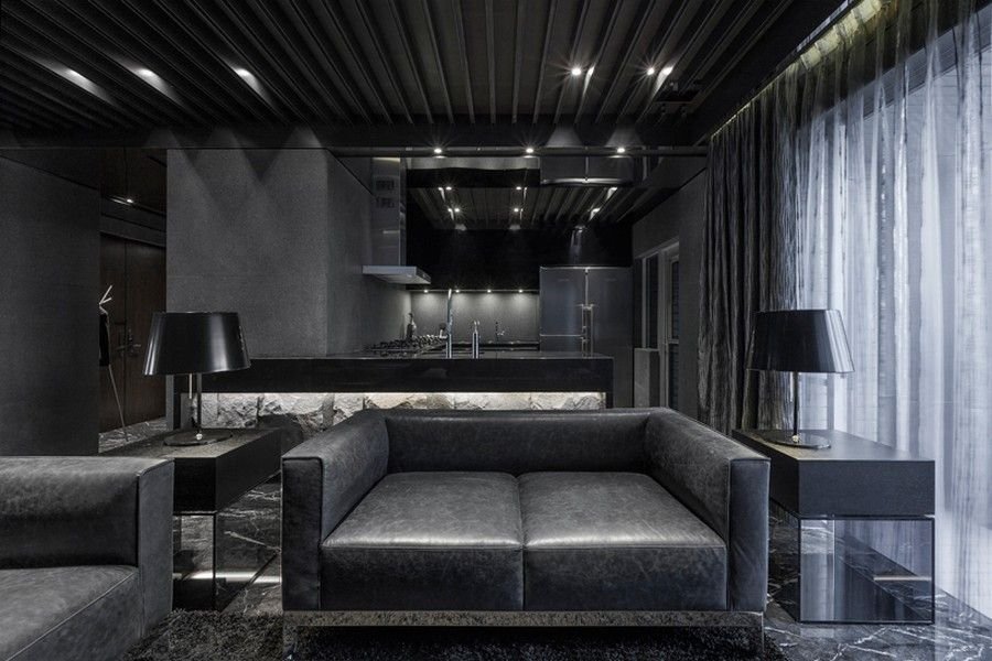 Daring Monochromatic Interior Scheme Home In Black Serenity In