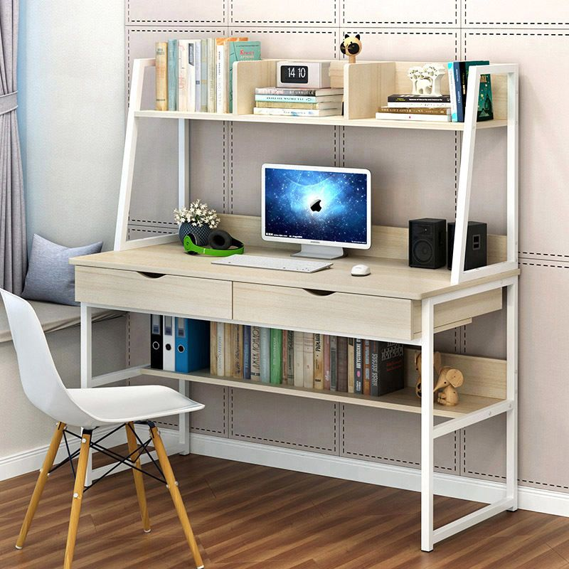 Enterprise Large Computer Desk Workstation With Shelves Drawers White Computer Desk With Shelves Cheap Office Furniture Bookshelf Desk