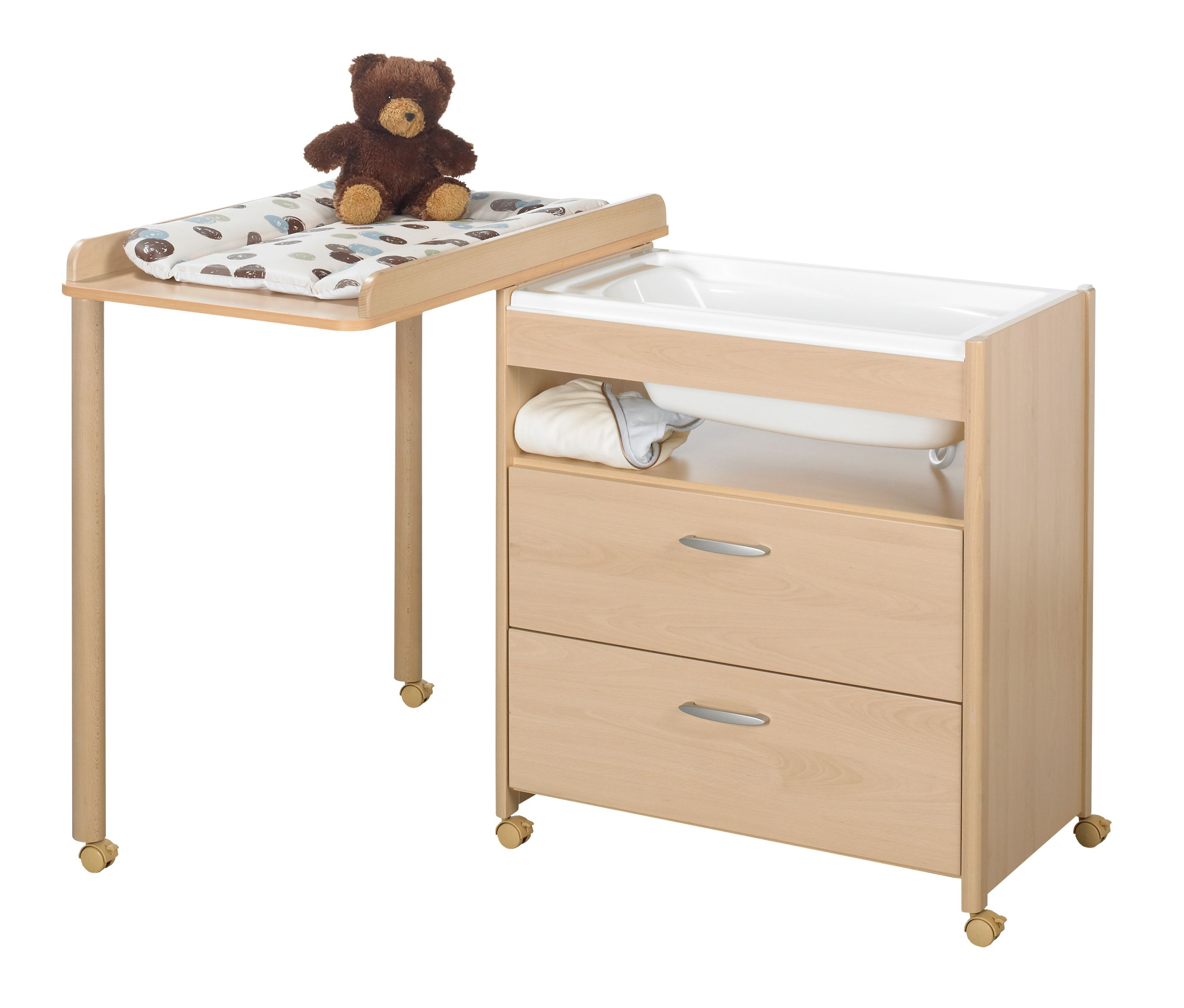 Commode table langer et baignoire voice ella de for Commode table a langer bebe