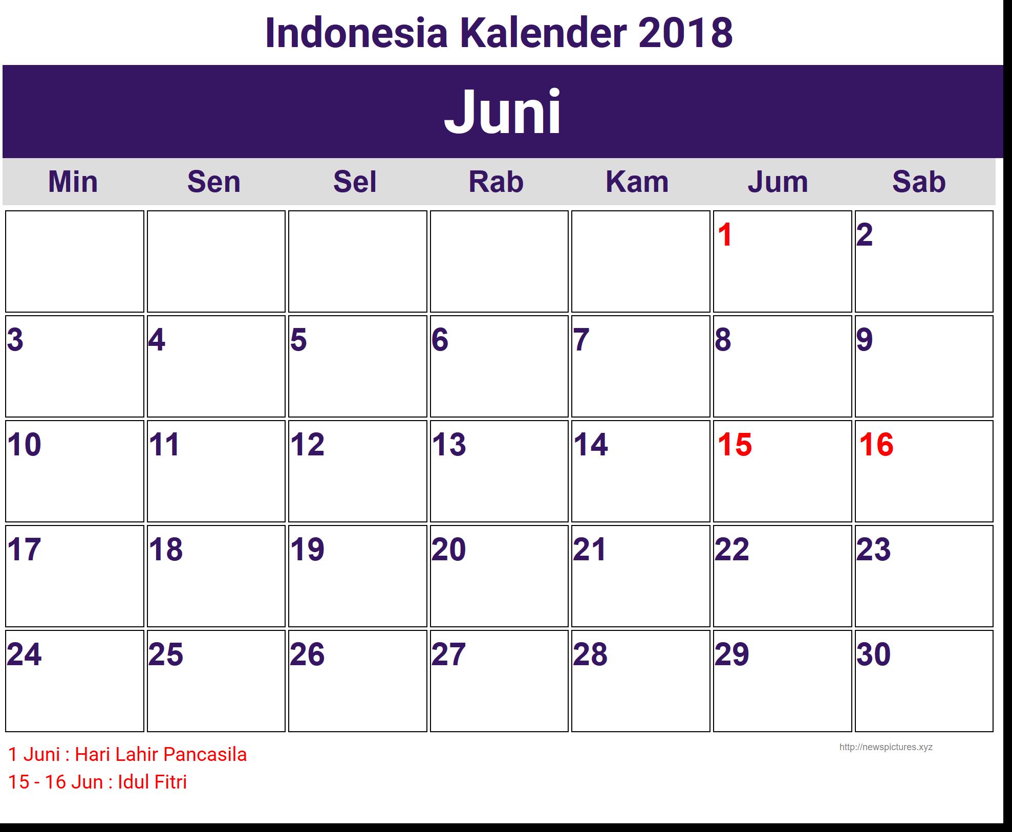 Image for Juni Indonesia Kalender 2018 | Calendar 2018 ...