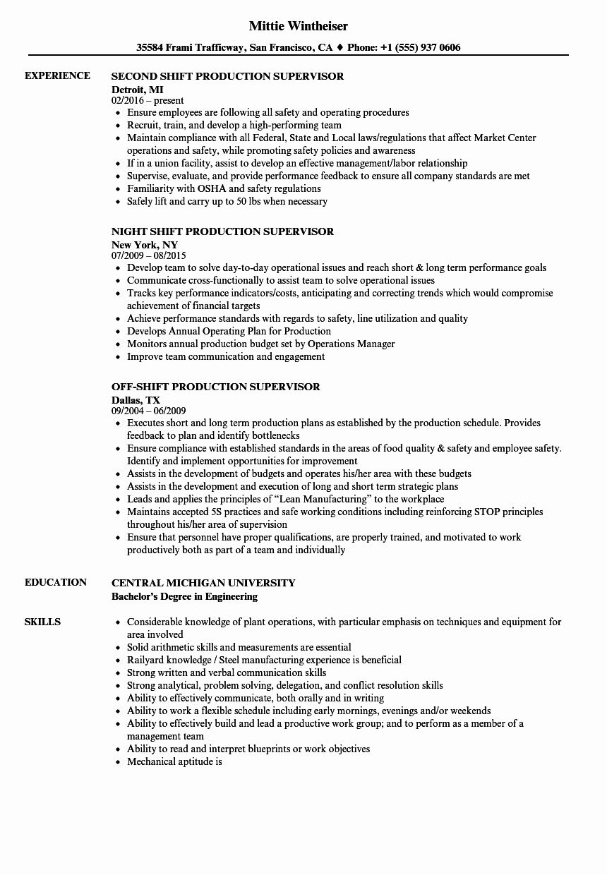 20 Shift Manager Job Description Resume Job description