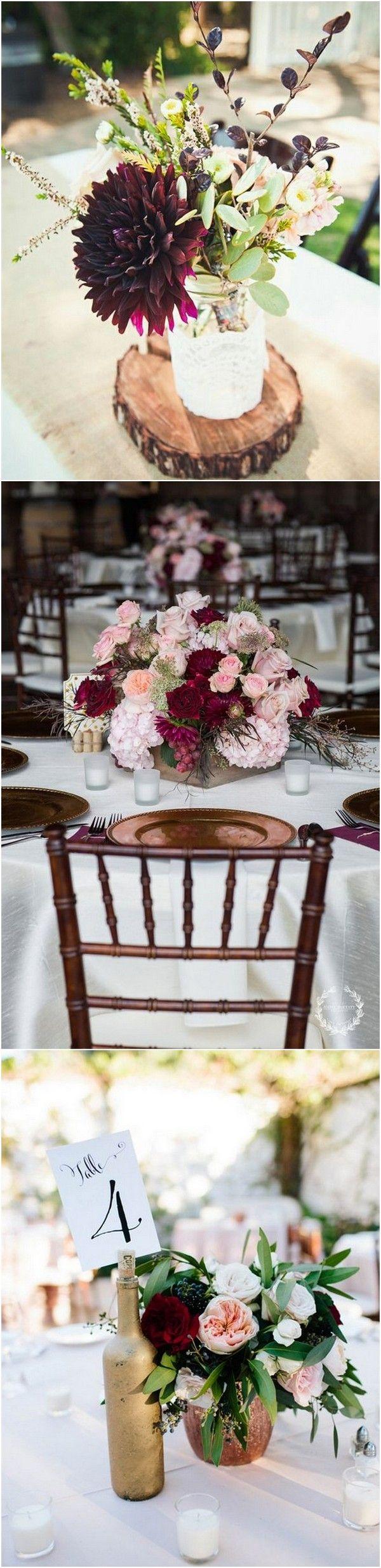 Outdoor fall wedding decor  Top  Burgundy Wedding Centerpieces for Fall   Pinterest