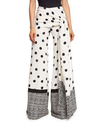 B3FRP Oscar de la Renta Polka-Dot Wide-Leg Pants, Black/White
