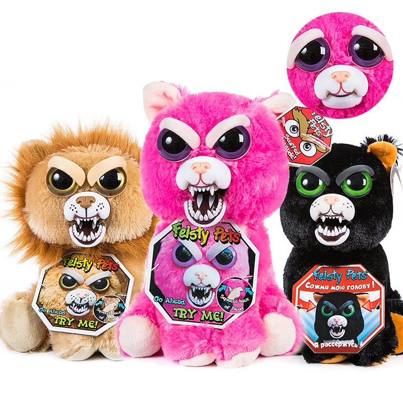 New Feisty Pets Roaring Angry Toy Children Gift Change Face Stuffed Animal Doll Plush Toys For Kids Cute Prank Toy Free Shipping Baby Christmas Gifts Animal Dolls Feisty Pets Unicorn