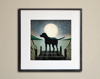 Framed Dock Dog Lake Labrador Graphic Art Giclee Print 12x12
