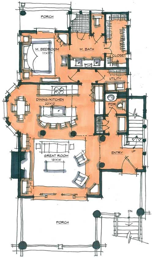 Copperhead Camp by Shawn Fisher first floor Sketches-interiors - Dessiner Plan De Maison