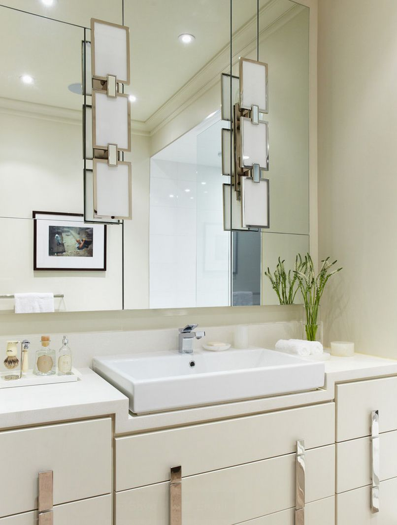 A pair of vanity sconces on mirror @clsterling #AC321S & A pair of vanity sconces on mirror @clsterling #AC321S | Bathrooms ...