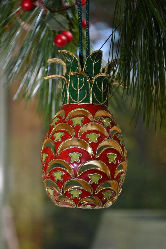 etsy  Cloisonne Hawaiian Pineapple Christmas Tree by AttictoSeller