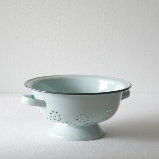 DUCK EGG BLUE ENAMEL   COLANDER