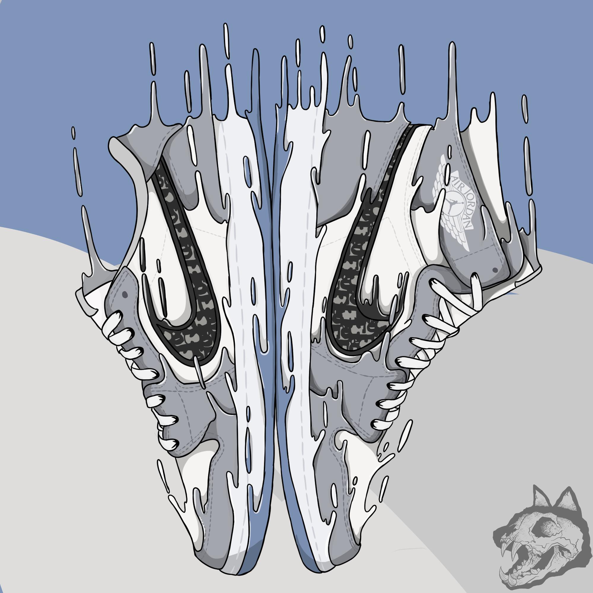 Jordan 1 X Dior Sneaker Art Cartoon Drawings Digital Drawing