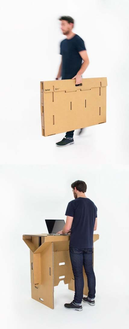 Fraser Callaway, Oliver Ward, And Matt Innes | 'Refold' | https://www.kickstarter.com/projects/1896946361/refold-portable-cardboard-standing-desk