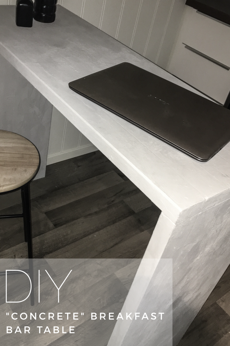 Diy Concrete Breakfast Bar Table Made From Wood And