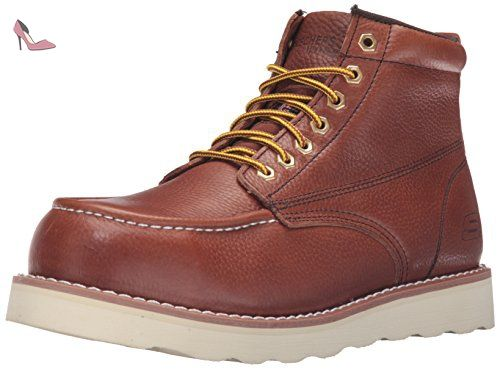 Skechers for Work Pettus Grafford Bottes Homme, Rouge Marron