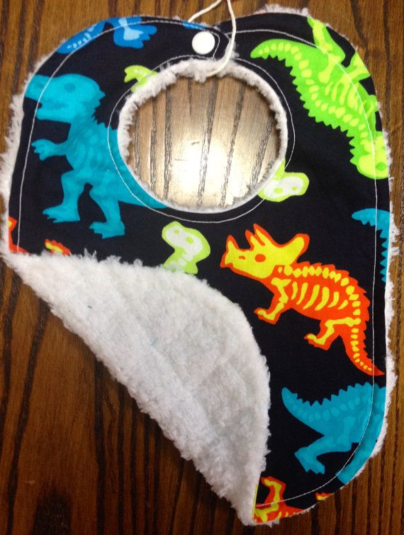 "Handmade baby bib-  ""Black and neon dinosaurs"" -  cutest baby  boy bib ever!"