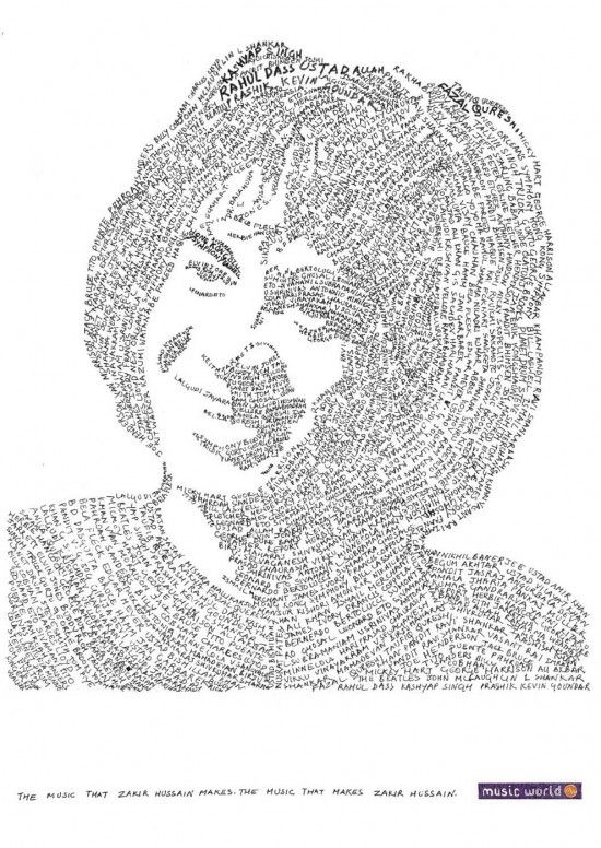 Word Text Art : Micrography:, Typography, Portrait,, Colorful, Portrait
