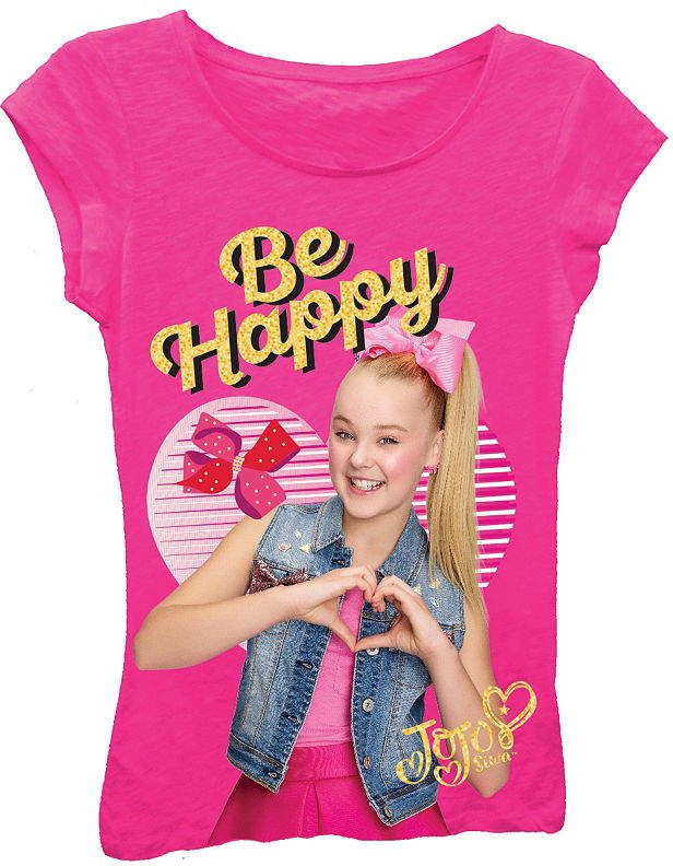 136c2f7d63440 Asstd National Brand JoJo Siwa Girl's Be Happy with Hands in Heart Short  Sleeve Graphic T-Shirt with Gold Glitter