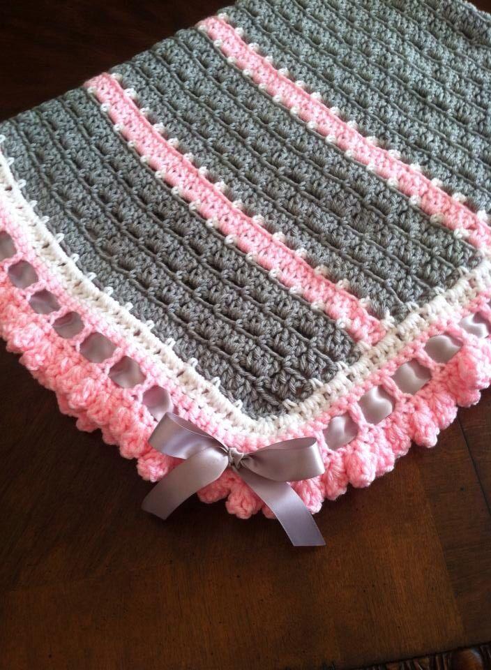 Pink and Gray blanket | Baby | Pinterest | Decken, Häkeln und Babydecken
