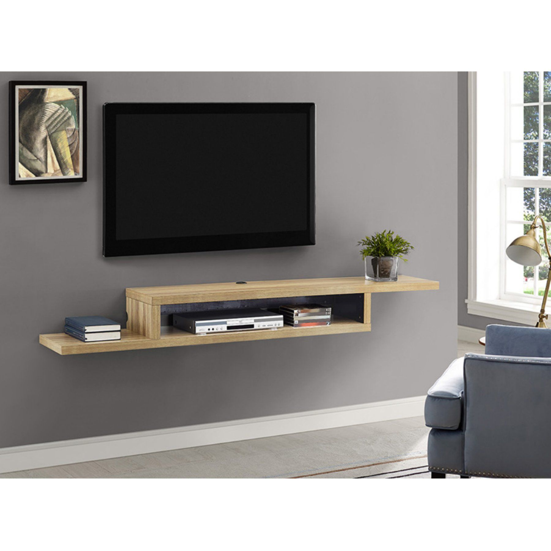 Martin Furniture 8 in. Asymmetrical Wall Mounted TV Shelf