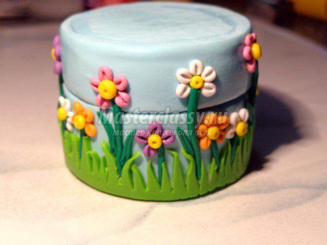 Шкатулка из полимерной глины с цветами - polymer clay box tuto