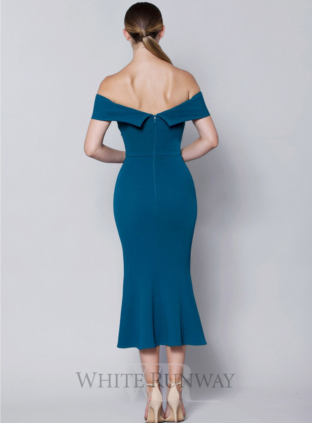 933c6f0ecf10 A beautiful midi dress by Lumier. An off shoulder style featuring tie knot  at the bust and frill skirt hem.  bridesmaid  weddinginspo  weddingideas ...