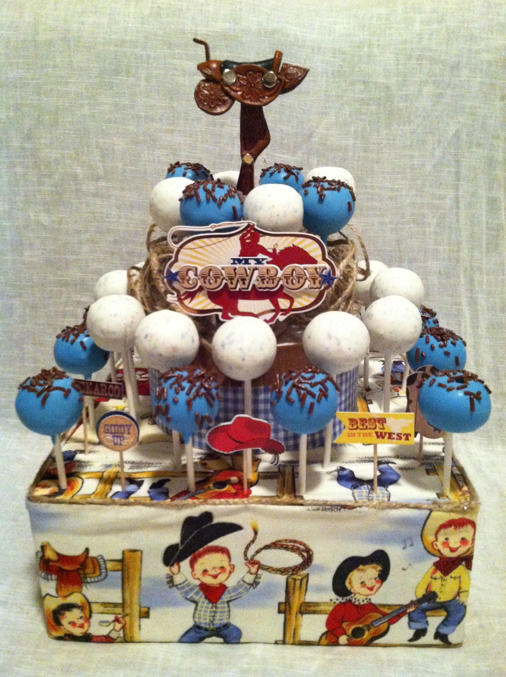 Baby Boy Cowboy Shower Cake Pop Display All Things Baby