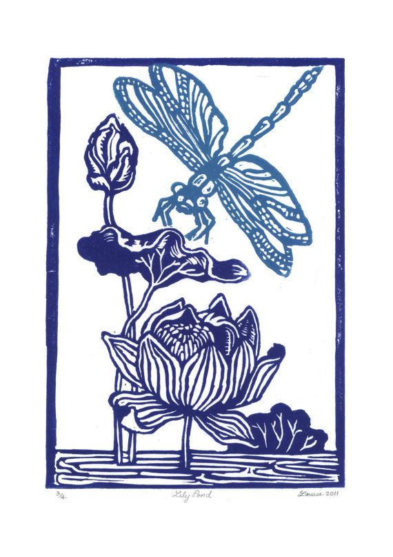 lily pond 2 colour linocut print by DrawstringHandmade on Etsy, $25.00