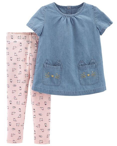 b080f8cca6 2-Piece Chambray Top & Cat Legging Set | Products | Kids outfits ...