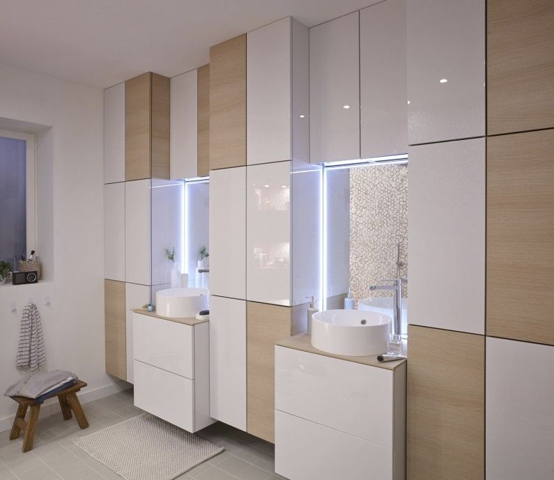 Salle de bains Blanc   Beige   Naturel Bois SENSEA Contemporain