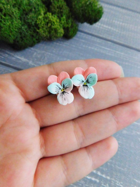 Peach Mint Studs Pansy Stud Earrings Flower Jewelry Gift For Sister Pastel Earrings Delicate Studs Polymer Clay Flowers Quilled Jewellery Polymer Clay Jewelry