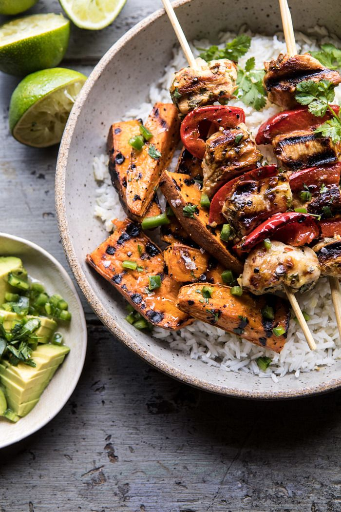 Grilled Chili Honey Lime Chicken and Sweet Potatoes with Avocado Salsa. - Half Baked Harvest