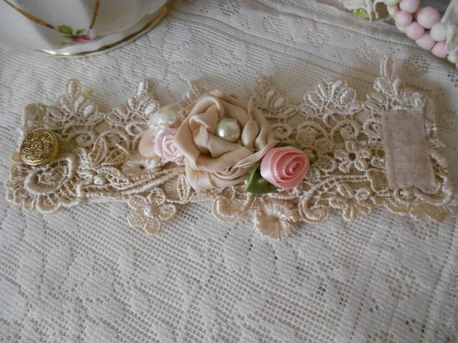 VIctorian vintage lace cuff bracelet with satin rose and buttons