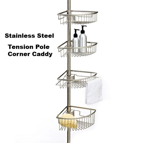 rust proof stainless steel tension shower caddy