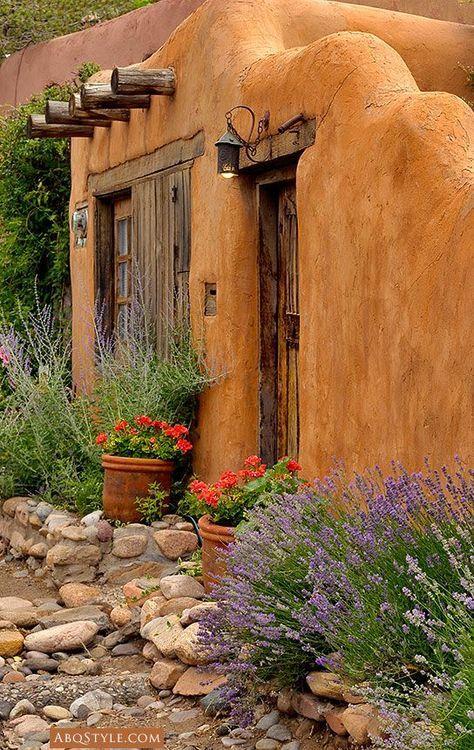 Adobe home santa fe new mexico desert tones for Adobe home builders