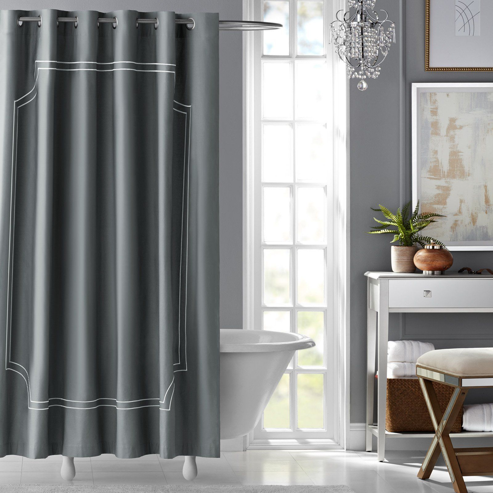 Florence embroidered cotton shower curtain by hotel style from