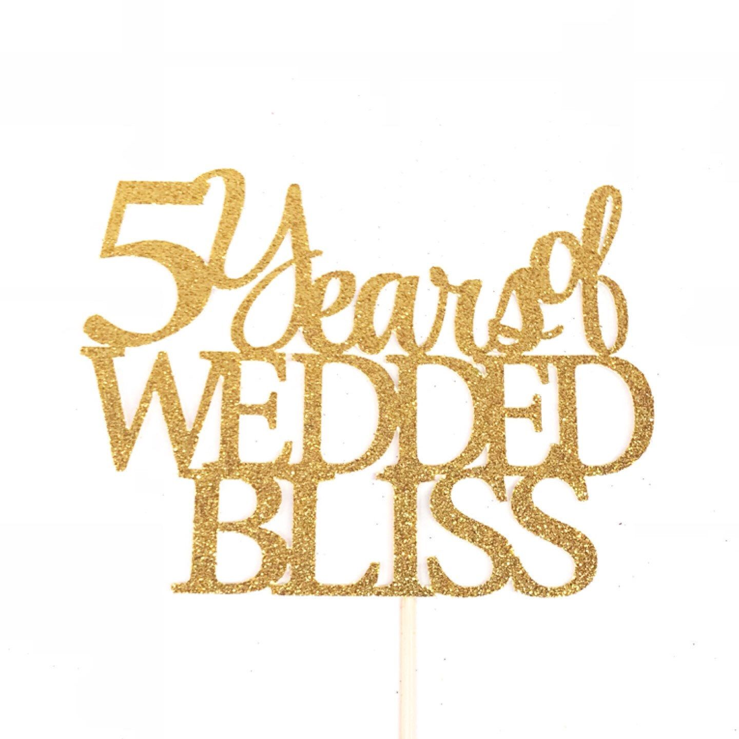 5 years of wedded bliss cake topper 5th anniversary cake